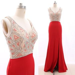 V Neck Sheath Red Prom Dress Pageant Gown Slit